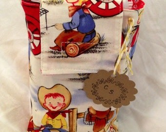 SUMMER SALE!!! Adorable l'il cowpoke travel diaper and wipe sack/ diaper clutch/  Michael Miller