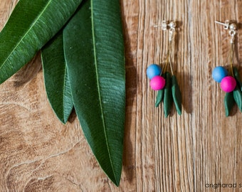 Blue and Pink Joy Leaves  Earrings