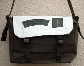 Hand painted messenger bag - 'Royal Marine Commando'