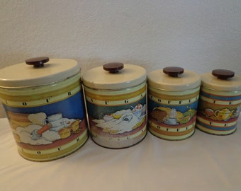 Vintage Four Piece Tin Canister Set