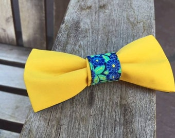 Yellow and blue bowtie