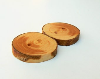 2 Cypress wood buttons, wood buttons for knitting, crocheting, sewing and scrapbooking