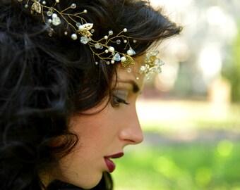 wedding crown, wedding tiara, bridal crown,pearl crown,Bridal HeadBand, Bridal Halo, Bridal Hair Vine,Diadem,Bridal Hairpiece