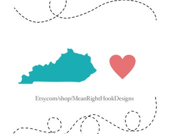 Kentucky SVG state svg, silhouette, heart svg, and dotted lines INSTANT DOWNLOAD vector files for cutting machines - svg, png, dxf, eps