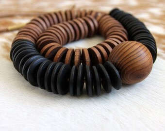 Geometric Wood and Leather Necklace