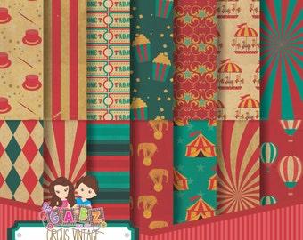 Circus Vintage, Digital Papers, Damask, Patterns, Background, Decorative, Ornamental, Vintage, Flowers, Gabz