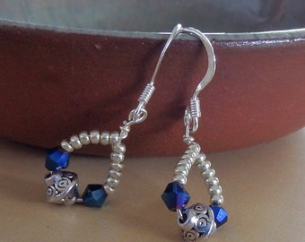 Indigo crystal & silver charm earrings