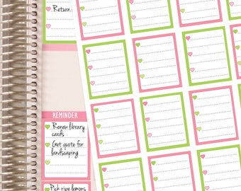 Planner Stickers Full Box Checklist - Pink and Green