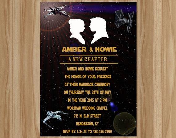 Items similar to FLASH SALE Star Wars Wedding Invitation Star