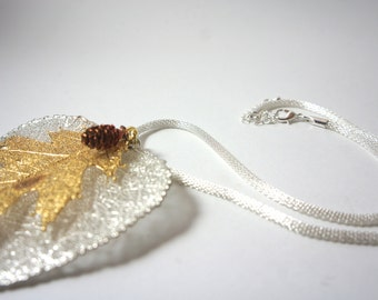 Gold and silver dipped double leaf necklace pendant