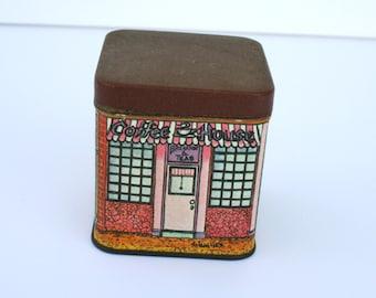 SALE: Vintage tiny tin; four country shops; butcher shop tin; fish shop tin; patisserie tin; coffee house tin