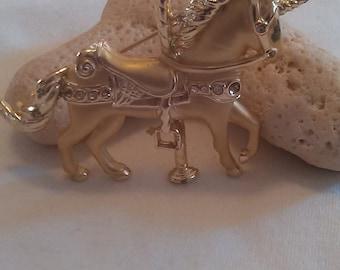 Unicorn Carousal Horse Brooch