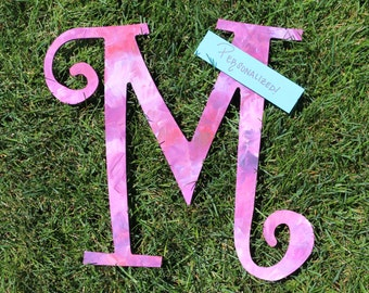 CUSTOM CURSIVE LETTER in Pink; Hand Painted, Personalized, Wooden, Quotes, Gifts, Family, Friends, Sorority, Greek, Big, Little