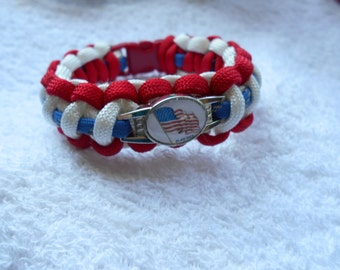 Flag Day Paracord Bracelet  - White, Red, Reflective Blue - Hand made
