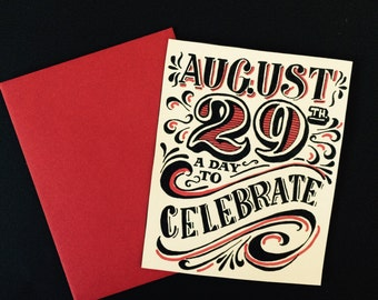 red black and white Hand made customized birthday card