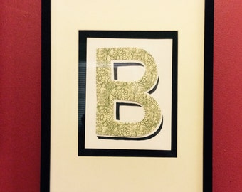 Custom made Framed Wall letter with green hand crafted paper