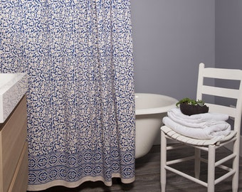 Chain Pattern Shower Curtain Batik - Indigo-Block Print