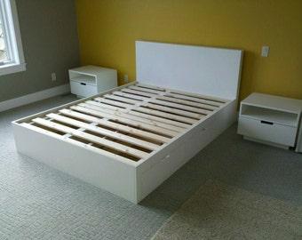 White Queen Platform Bed With Under Storage