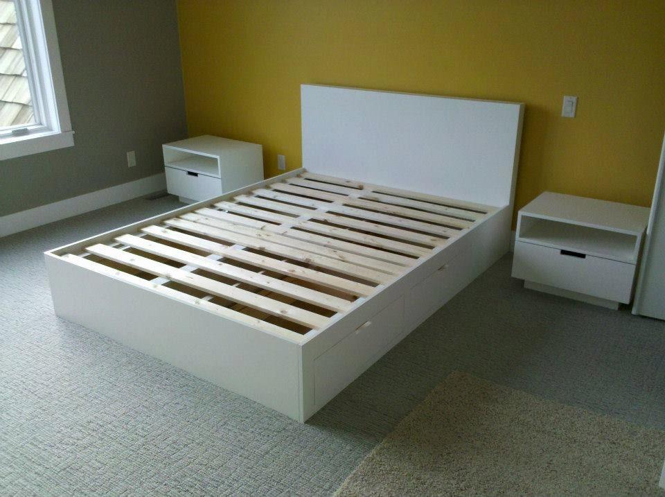 White queen platform bed with under storage - Platform bed with storage underneath ...