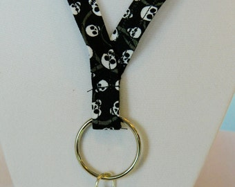 Skulls on Black Lanyard