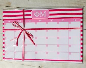 Phi Mu ΦΜ Sorority Desk Pad Calendar