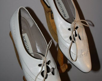 Vintage Wingtip Oxford Nordstrom  7 Antique White Victorian Gangster Bonnie and Clyde