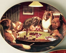 Dogs Playing Poker Plate - High Stakes - Franklin Mint Heirloom Recommendation - Brown & Bigelow - M Coolidge - Limited Edition