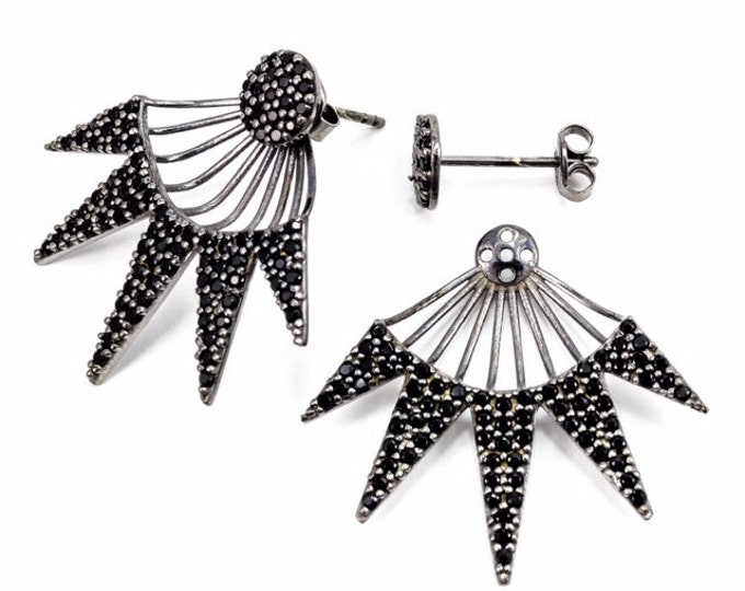 Spike-Earrings- Rhodium