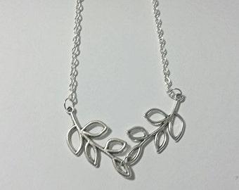 Silver Leaf Necklace - Lariat Necklace Leaf Necklace Branch Necklace Leaves Jewelry Branches Necklace Leaves Necklace Silver Leaves