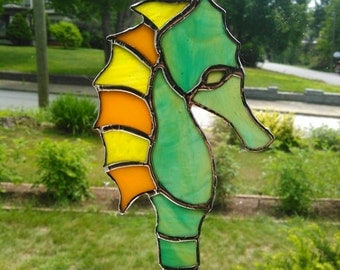 Stained glass seahorse suncatcher