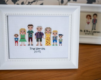 7 person Family Cross-stitch embroidered Portrait  (framed)