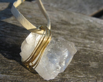 Sidewinder --- quartz crystal necklace on deerskin lace leather; Montana quartz, boho, stone necklace, clear stone, wire wrapped jewelry