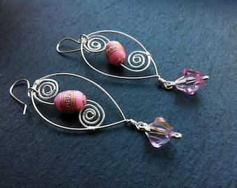 Pink Squiggle Earrings