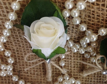 Beautiful Vintage Inspired Silk Rose Button Hole.