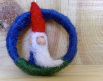 needle-felted hanging gnome ring