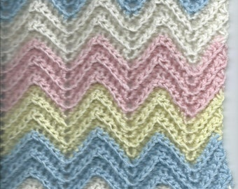 Pastel BABY Afghan-SHOWER GIFT-Peach-Yellow-Blue-Ivory Handcroched, Very Soft Boy or Girl Surprise!
