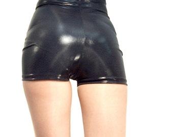 High waisted black shiny wet look shorts hot pants Goth