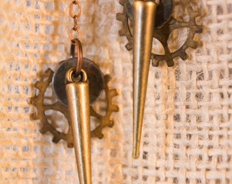 Steampunk Earrings with Gears and Hardware, Lightweight