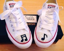 White Swarovksi Crystal Bling Converse with Musical Notes