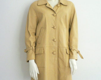 Womens Doeskin Leather Coat Size 6