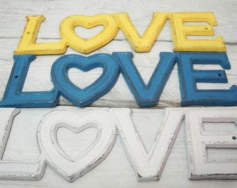 LOVE heavy cast iron, wall decor, DIY decor, painted cast iron