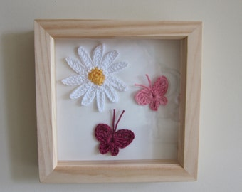 Daisy and Butterflies wall hanging / butterfly picture in wooden frame