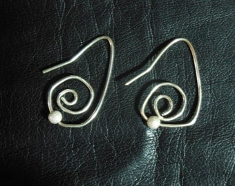 Sterling Silver Free Form Earrings with a Bit of Bling
