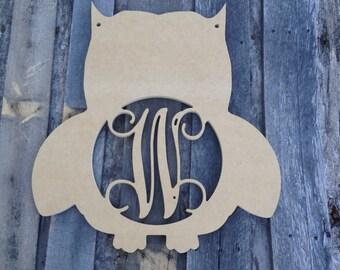 Wooden Monogram letter Owl