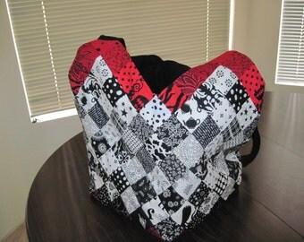 Black/White/Red Large Quilted Tote Bag