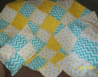 Ducky and Chevron Baby Rag Quilt Set