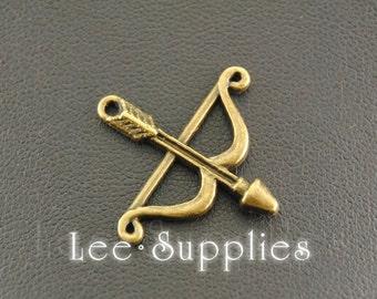 10pcs Antique Bronze Alloy Metal Cupid's bow arrow Charms Pendant A700