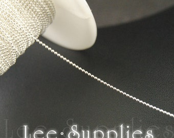 1mm Silver Plated Metal Bead Ball Necklace Chain C62