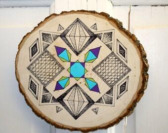 Geometric Pen and Acrylic Paint on Wood