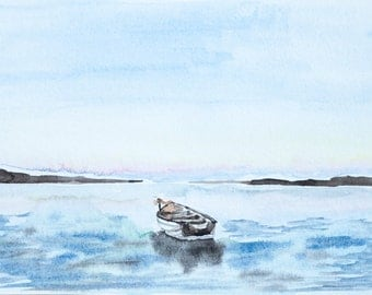 Rowboat Original Watercolor Painting 5x7""